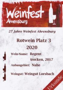 Urkunde: Weinfest Ahrensburg 2020 3. Platz, 2017 Regent trocken von Weingut Lorsbach, Nahe.